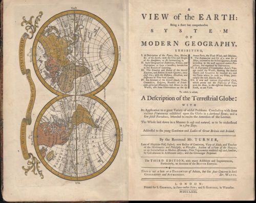A View of the Earth System Modern Geography Colored Maps Volvelle chart 1771