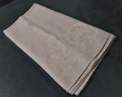 Antique Large Linen Damask Bath Towel R Monogram Florals Diamond Point Texture