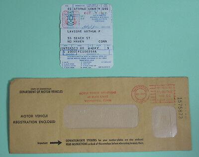 1968 Connecticut Dept of Motor Vehicle Registration Permit License w/ Envelope
