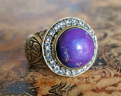 Art Nouveau Purple Turquoise Ring, Size Large, Gold & Silver, NEW