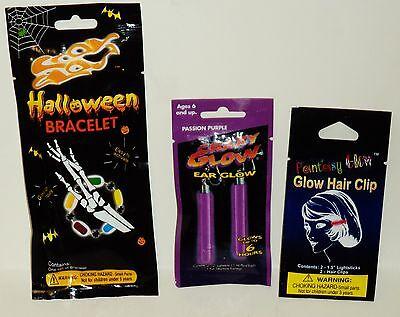 3 Packages Get 2 Ear Glow Earrings 2 Glow Hair Clips & 1 Halloween Glow Bracelet](Glow Stick Packages)