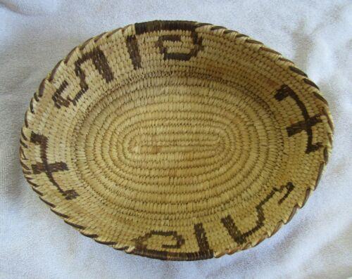 Papago Indian Hand Woven Basket Bowl Saguaro Cactus Design Yucca Devils Claw