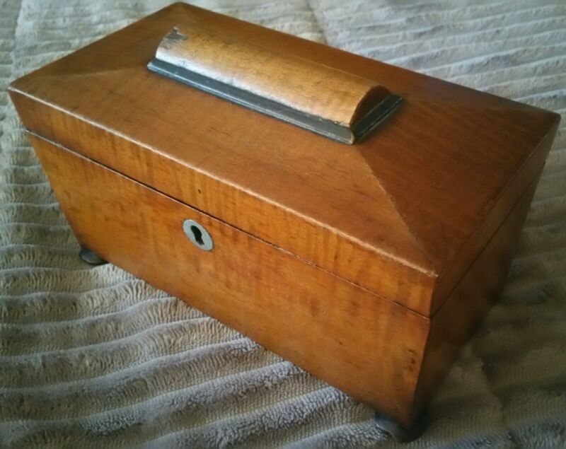SUPERB VINTAGE 19C ENGLAND STRIPED CHERRY OR ROSEWOOD SARCOPHAGUS TEA CADDY BOX