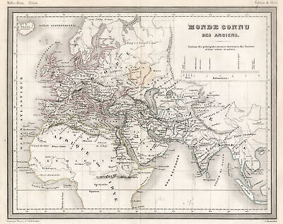 Eastern Hemisphere Original Steel Engraving Map Thierry1853