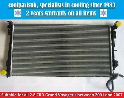 BRAND NEW RADIATOR CHRYSLER GRAND VOYAGER  VOYAGER 28 CRD DIESEL 2001 TO 2008