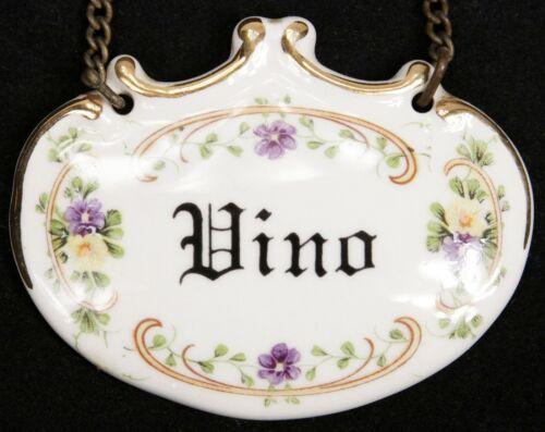 Vintage Italian Wine Decanter Bottle Porcelain Hang Label VINO Barware Old