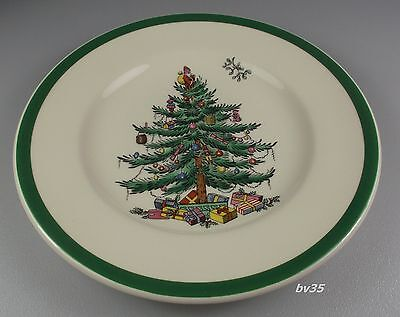 """SPODE CHRISTMAS TREE BREAD & BUTTER PLATES 6 1/2"""" - set of 2 -  ENGLAND - MINT!"""