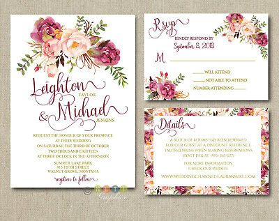 Personalized Luxury Rustic Wedding Invitations Mulberry Floral Suite ](Floral Wedding Invitations)