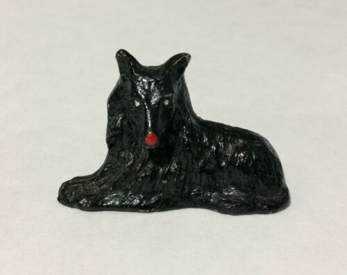 "1.5"" x 2"" Black Belgian Sheepdog Statue Figurine Dollhouse Shadowbox"