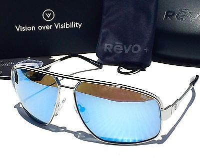 New  Revo Stargazer Chrome Aviator Polarized Blue Water Sunglass 1002 03 Bl Bono