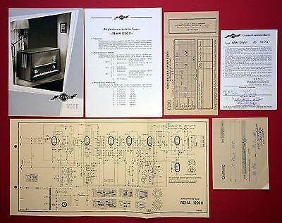 Prospekt 1960 RADIO Rema 1200 mit Stromlaufplan und Quittung   ( F14760