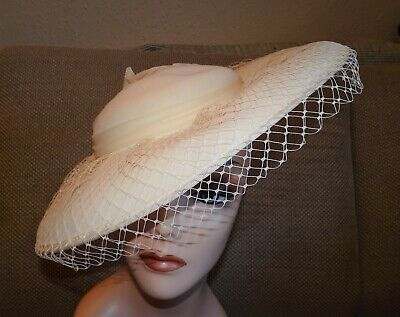 Vintage 80s Cream Wide Brim Hat with Chiffon PomPom Details and Veil