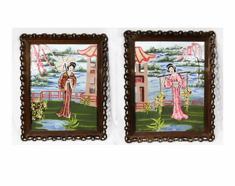 Pair Large Framed Pictures 1940s WWII Japanese Kimono Ladies Hand Paint Boudoir