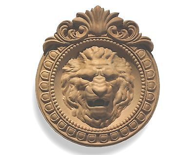 Carved Lion Head in Round frame. Wall Plaque / Applique