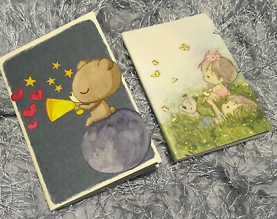 2x Cute Diary Note Books Travel Memo Bear Dog Girl Small Size Shopping List Gift