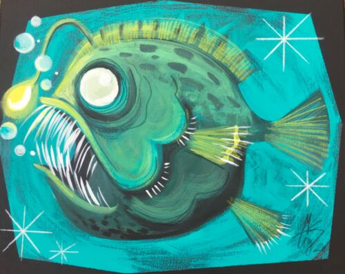 EL GATO GOMEZ PRINT MID CENTURY RETRO ANGLER FISH BEACH SEASIDE TIKI BAR KITSCHY