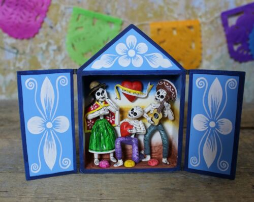 Day of the Dead Valentine Hand Made Retablo Nicho Folk Art Peru Dias los Muertos