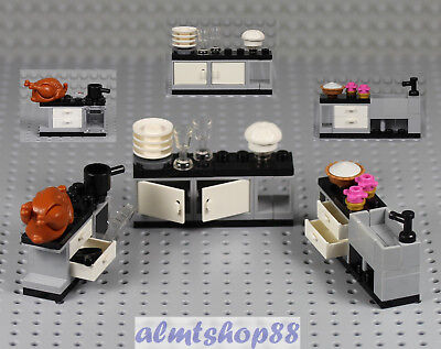 LEGO - 3 pcs Kitchen Appliance Oven Sink Cupboard Dishes Minifigure Food 10243