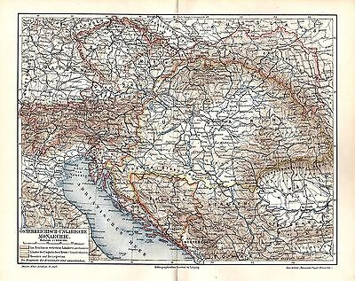 ÖSTERREICH-UNGARN Siebenbürgen Königreiche Monarchie Geschichte LANDKARTE  1908