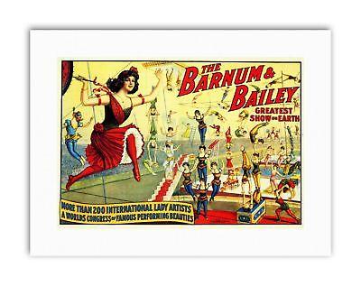 1890s Barnum /& Bailey Circus Poster Silbons Trapeze Act 20x28
