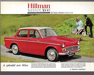 Hillman Minx Series V 1600 Saloon 1963-64 UK Market Leaflet Sales Brochure