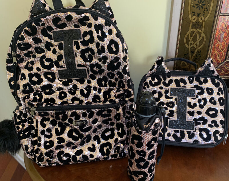 """Preowned Justice Cheetah Initial """"I""""Sequin Backpack Lunch Tote& H2O Bottle Set"""