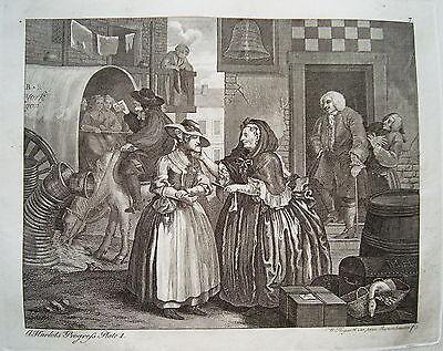 William Hogarth Werdegang der Dirne 1 Sex  Prostituierte alter Kupferstich 1800