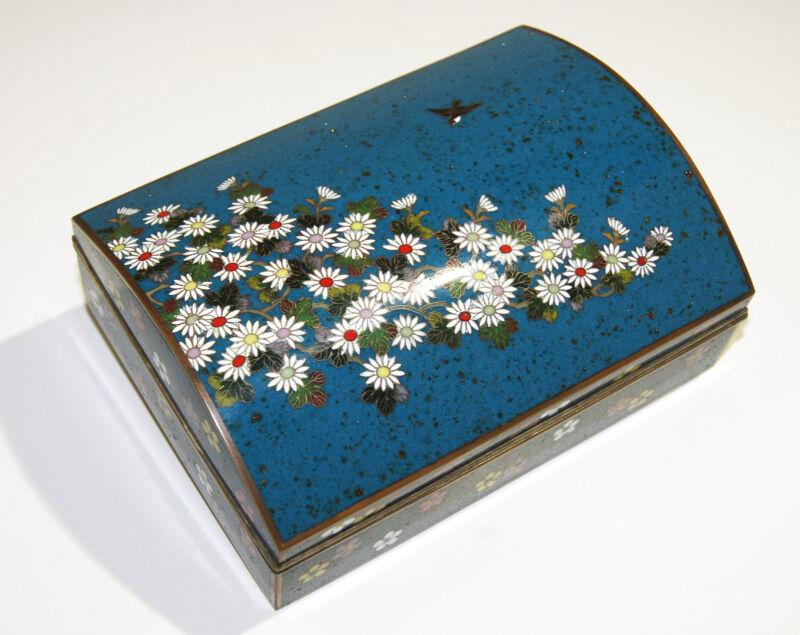 Antique Japanese Cloisonné Enamel Box Inaba School Circa 1910