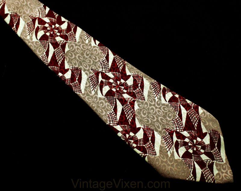 40s Mens Tie - Spider Webs Novelty Print 1940s Silk Necktie Gray Maroon Cobwebs
