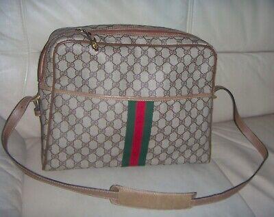 Authentic Vintage 70s Gucci GG Web Supreme Vinyl Extra Large Shoulder Bag  ITALY