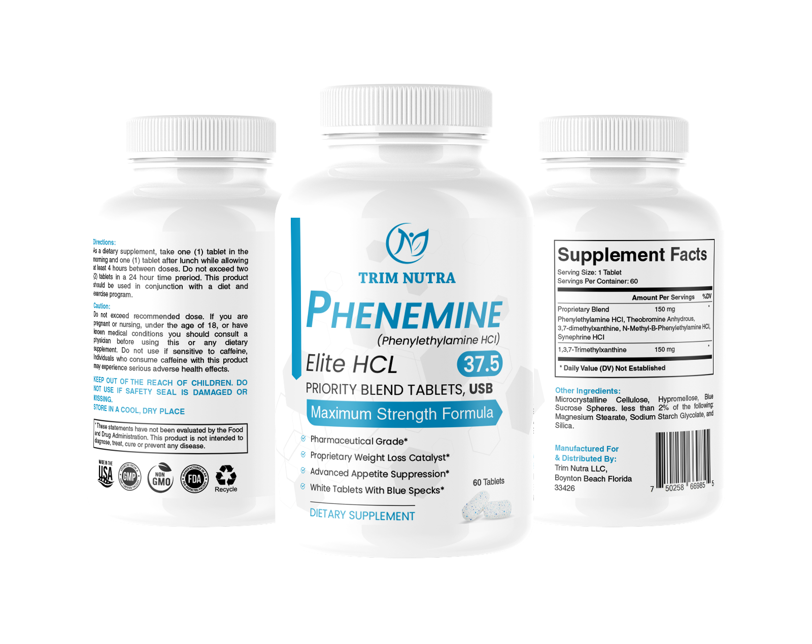 2 Month Phenemine Elite 37.5 White/Blue Weight Loss Diet Pills Fat Burners 375 5