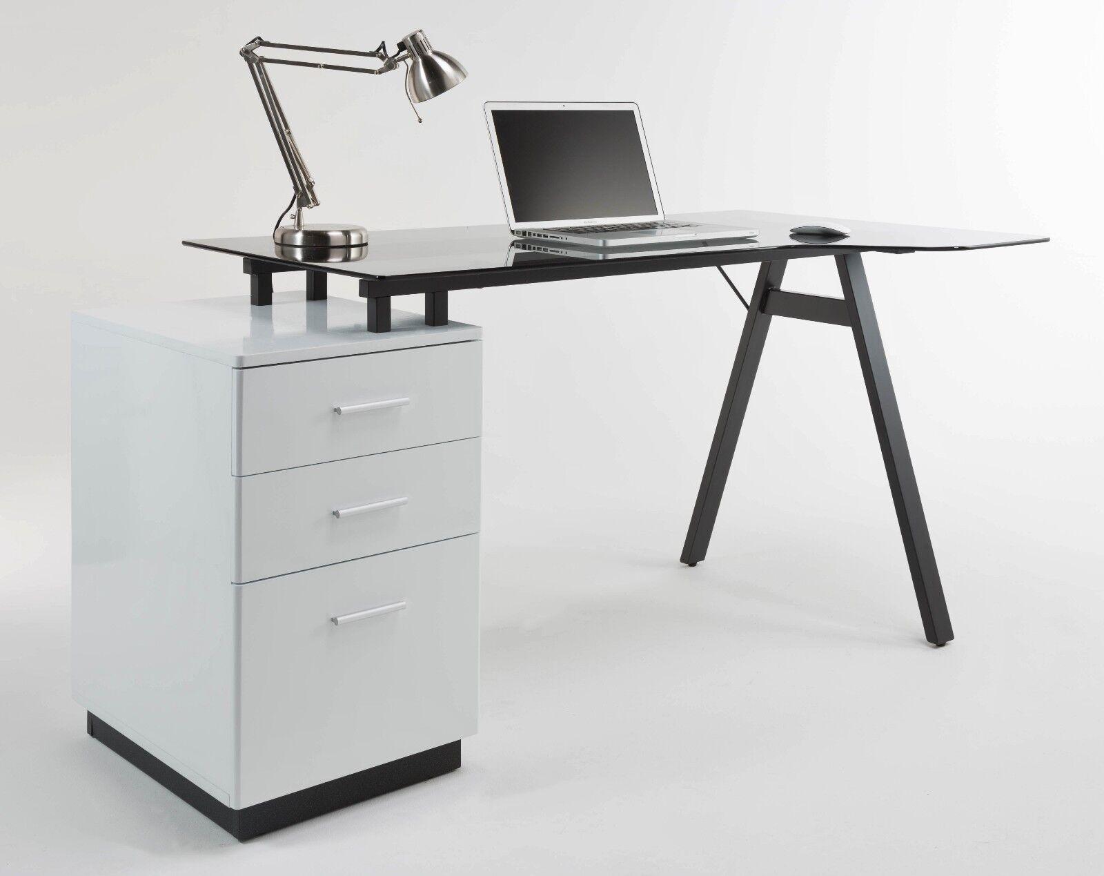 - Alphason Office Edison Plus Glass Modern Computer Desk Workstation