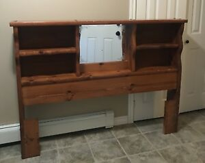 Solid wood queen headboard with mirror & storage