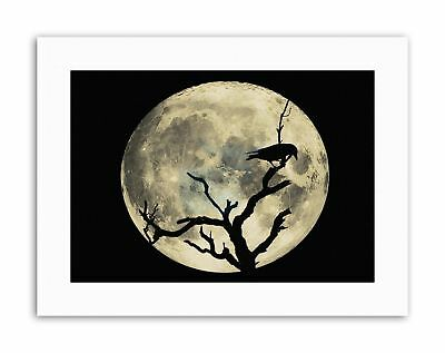 CROW SILHOUETTE MOON BLACK GREY Picture Canvas art Prints ()