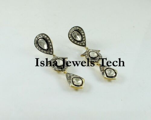 Natural Diamond Polki & Rose Cut Diamond 925 Sterling Silver Earrings Jewelry