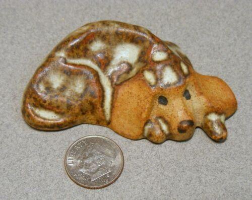 Small Vintage Tremar UK Reclining Pottery Dog Figurine