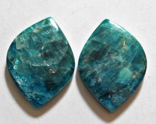 63.55 Cts Natural Apatite (32mm X 23mm each) Cabochon Match Pair