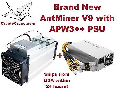 Brand New In-Hand Bitmain AntMiner V9 4TH Bitcoin Miner with Bitmain PSU Combo