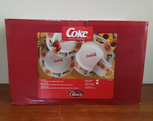 Gibson Coca Cola Drive in Dinner ware 16 Piece Dish Set Mugs Bowls Plates 2004