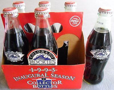 Inaugural Season Collectors - Colorado Rockies Baseball Inaugural Season Collector Bottles Coca-Cola Coke 6 pk