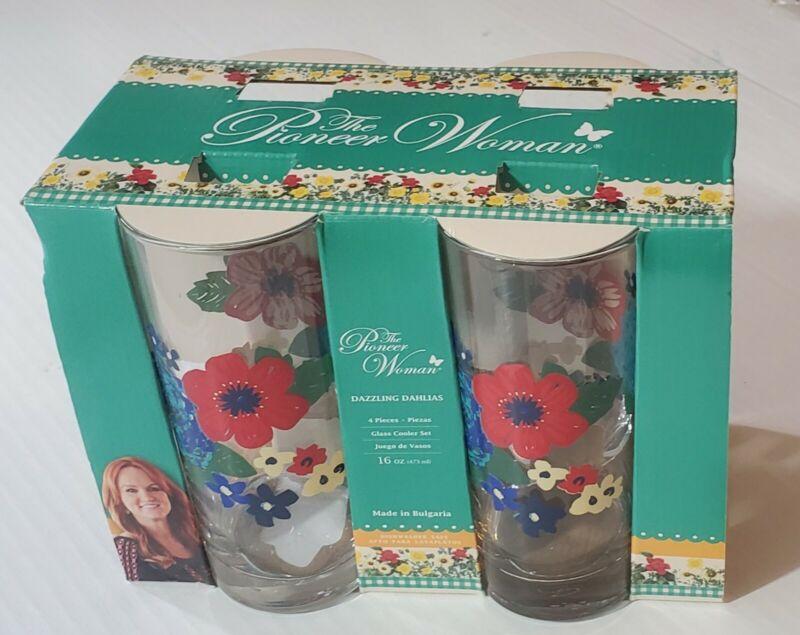 New! The Pioneer Woman Glass Cooler Set Dazzling Dahlias 16 Oz. Set of 4  NIB
