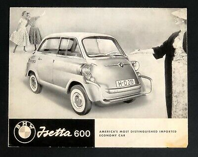 1958 BMW Isetta 600 Dealer Sales Brochure Poster Photos Specifications Vtg Car