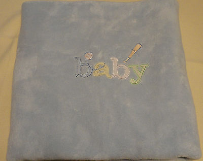 Carters Embroidered Baby Blanket - Carters Soft Blue BABY Blanket Embroidered Baseball Bat Satin Trim Edge Sport
