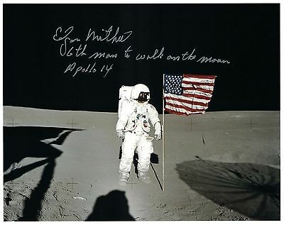NASA Edgar Mitchell Apollo 14 Signed Lunar Surface Photo