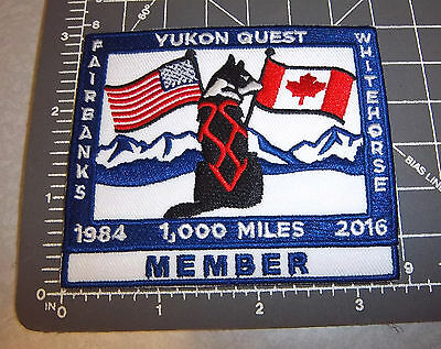 2016 Alaska Yukon Quest 1000 mile Dog Sled Race Embroidered Patch - MEMBER
