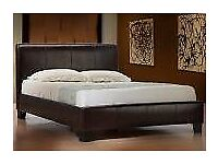 Double Brown Leather Bed