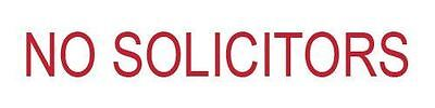 Excelmark Engraved No Solicitors Plastic Sign White With Red Letters 2 X 8