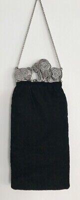 1950s Handbags, Purses, and Evening Bag Styles Authentic Vintage 1950's Black Velvet Wrist Purse $37.45 AT vintagedancer.com