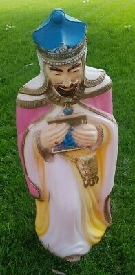 "Vintage Wise Man Pink Cape Large Nativity Xmas Empire Blow Mold Yard 35"" King"
