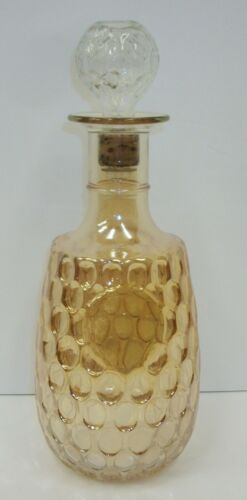 Vintage Marigold Lustre Carnival Glass Honeycomb Decanter with Stopper